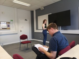 Charis and Matthew rehearsing at the University of Birmingham picture 1